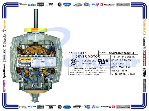 MOTOR MAYTAG SUST DEL 53-3728, 31001512 USAR W10410996