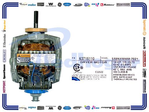 MOTOR MAYTAG SUST 33001853 33002237  63702550 USAR W10410997