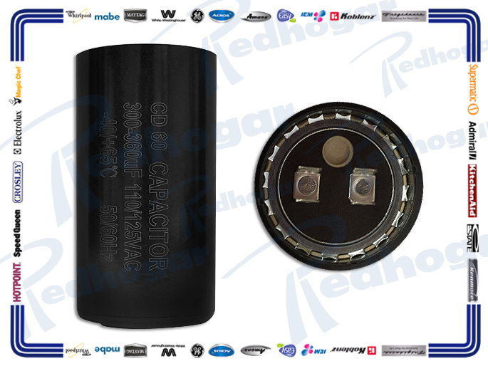 CAPACITOR 300-360 MF 110-125V 50/60 Hz -40/+65°C 4.5 CM (DIA)