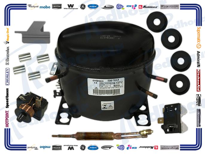 COMPRESOR 1/4L 134a  115/127v,60 Hz,  BAJO CONSUMO EMBRACO 695 BTU W910010027 FF11BKW, EGYS70HLR, EM