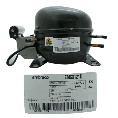 COMPRESOR 1/4+ HP R290 115-127V 60Hz BAJA/MEDIA PRESION DE RETORNO EMBRACO
