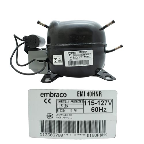 COMPRESOR 1/8 HP R134A 115-127v /60HZ 4EMI 40HNR BAJA PRESIO DE RETORNO EMBRACO