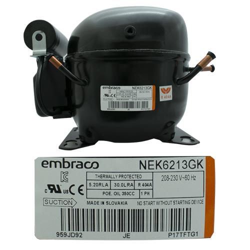 COMPRESOR 1/2 R404a 208-230 V-60 HZ usar NEK6210GK2 MEDIA PRESION DE OPERACION DE RETORNO EMBRACO