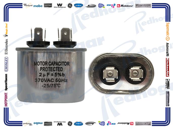 CAPACITOR TRABAJO 2 MF OVALADO ALUMINIO  370VAC 4 CM (ALT)