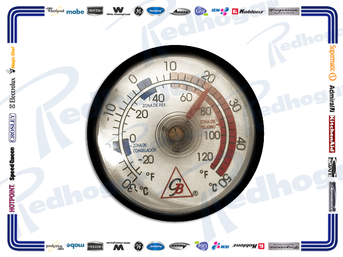 TERMOMETRO ANALOGO DECORATIVO C/ADHESIVO E IMAN RANGO 310° A 50°C